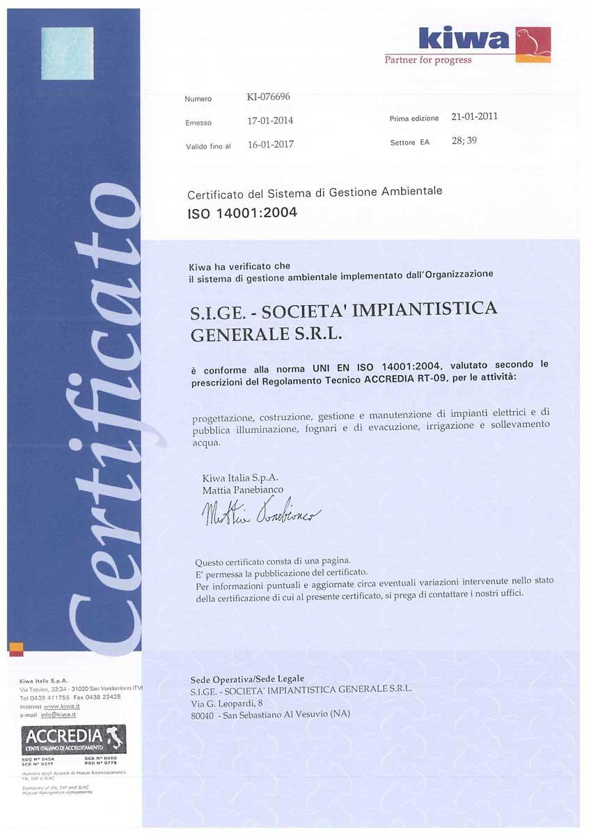 Certificato UNI EN ISO 14001 2004