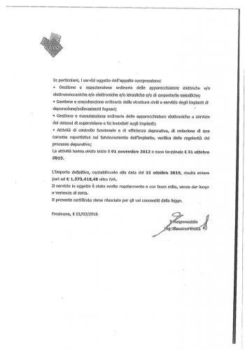 Attestazione Gestione Impianto di Depurazione di Frosinone
